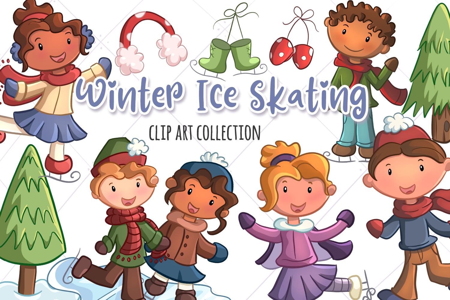 Winter Ice Skating Illustrations example image 1