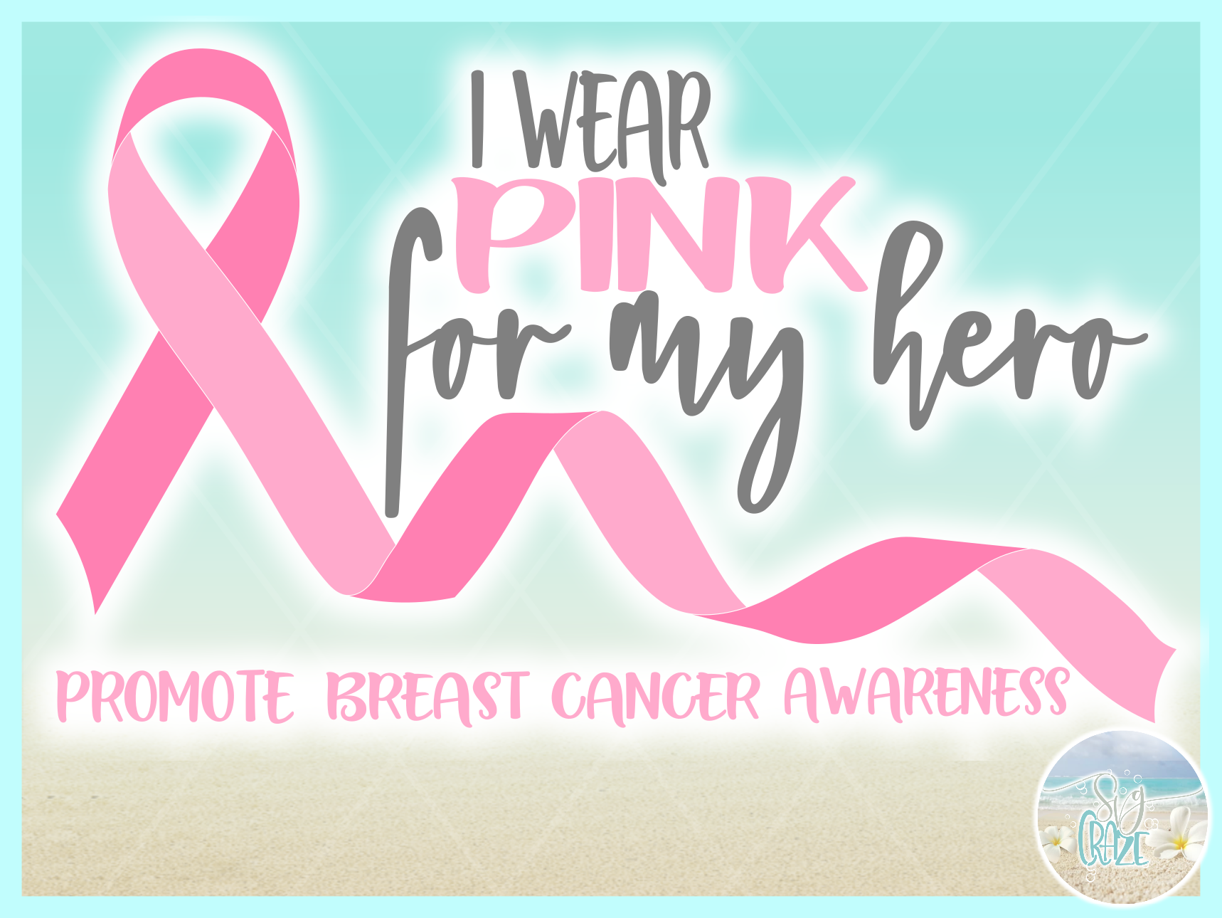 I Wear Pink For My Hero Breast Cancer Ribbon SVG example image 2