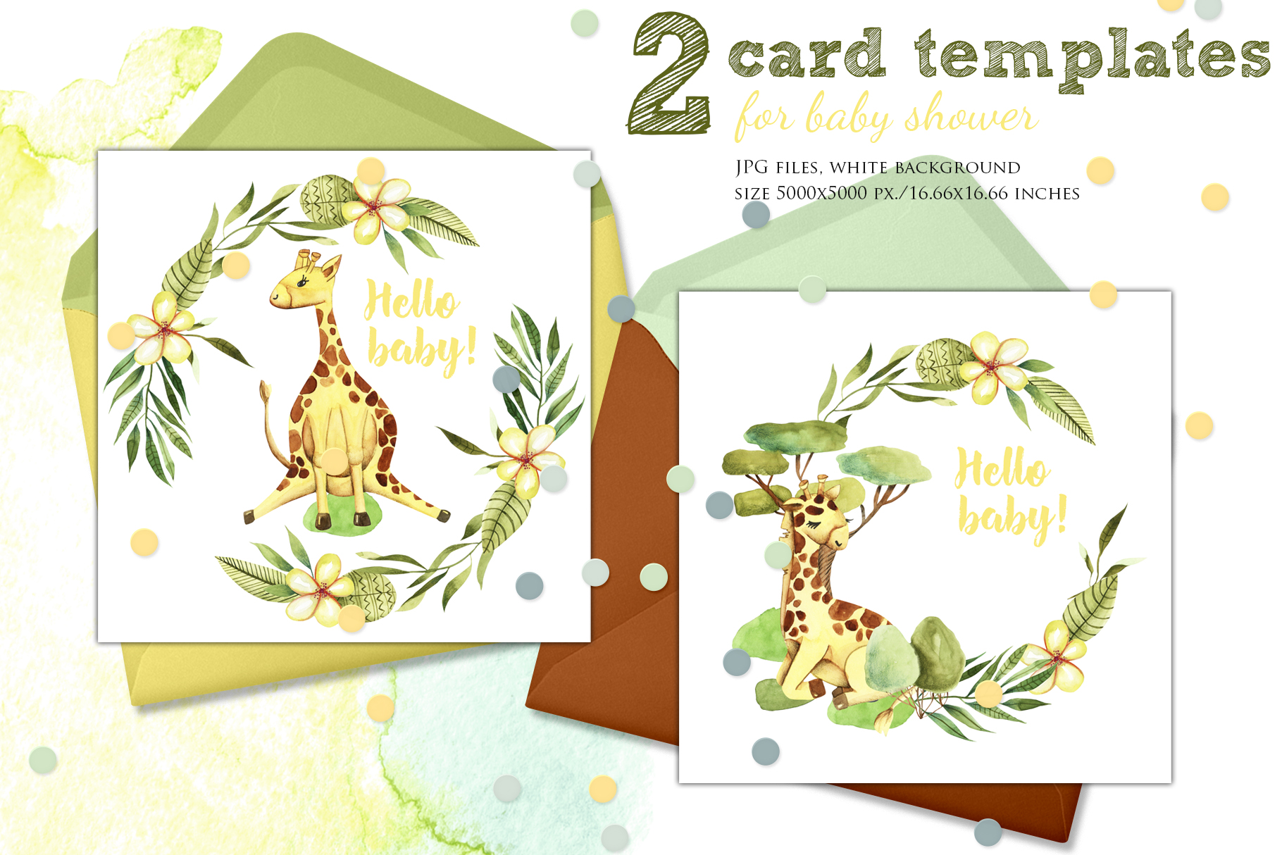 Giraffes. Watercolor clipart. example image 5