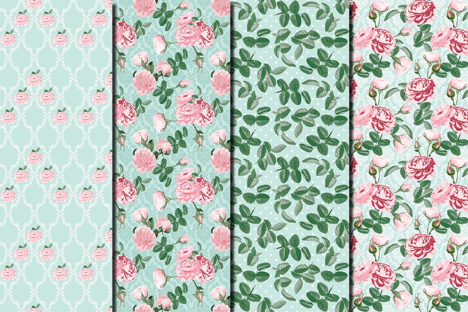 Shabby chic pink roses seamless patterns example image 2
