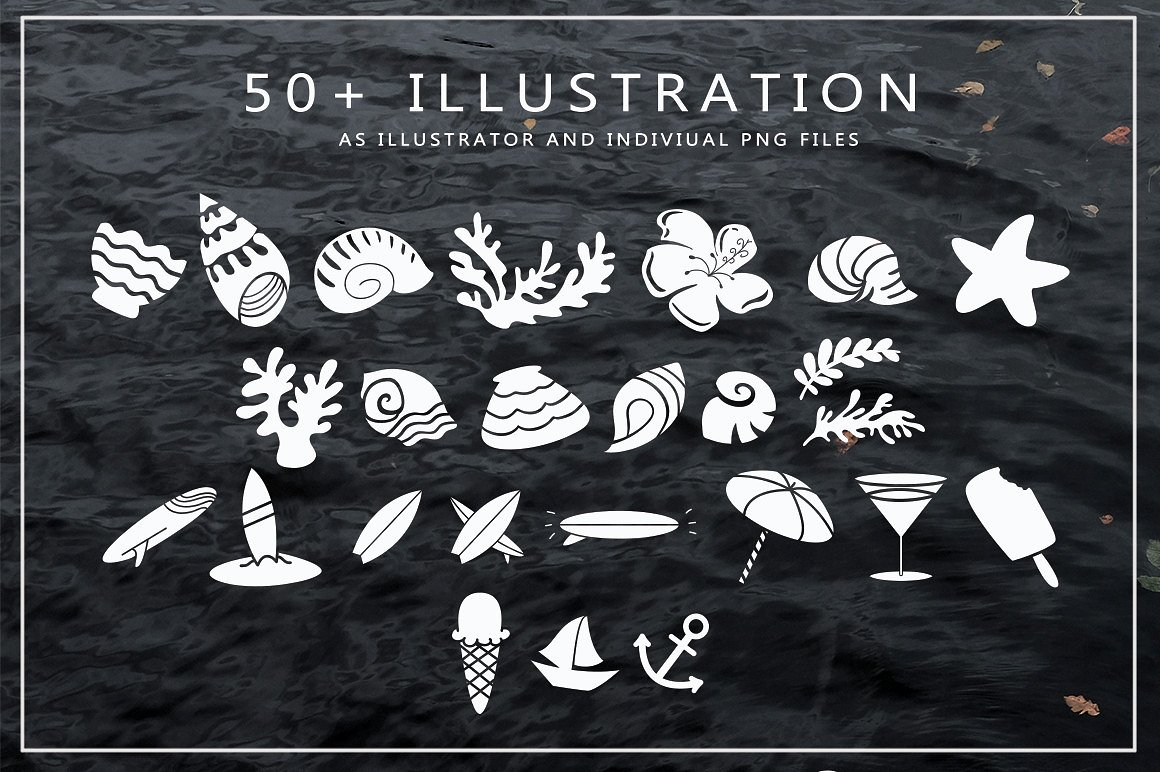Harmonic Script With Summer Illustration Package Bundle example image 7
