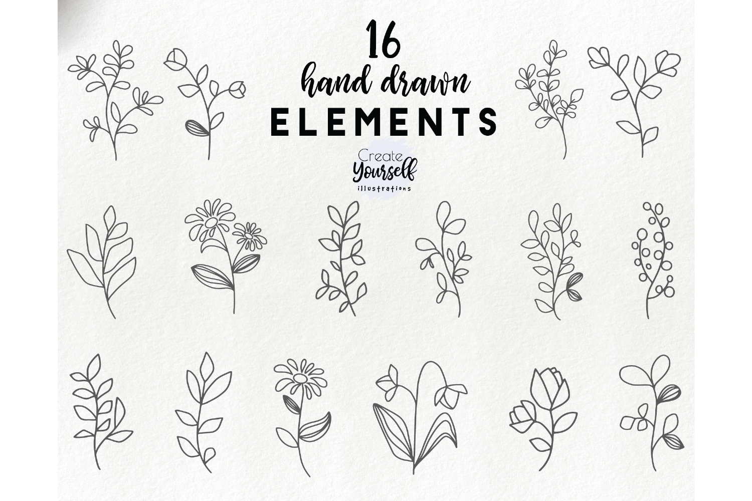 Hand drawn floral elements - botanical leaves clipart