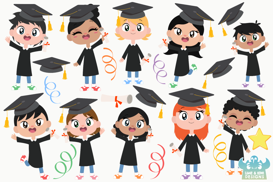 Graduation Day Clipart, Instant Download Vector Art example image 2