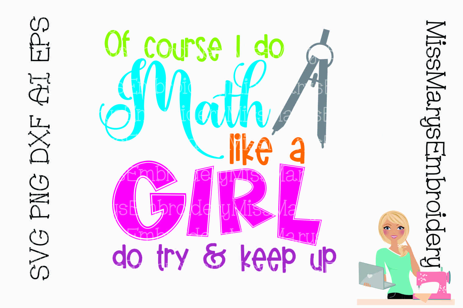 Math Like A Girl SVG Cutting File PNG DXF AI EPS example image 1