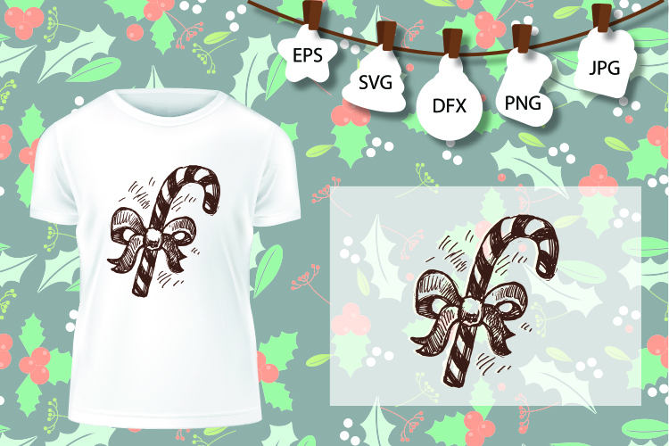 Candy canes sweets Christmas winter holiday magic SVG example image 1