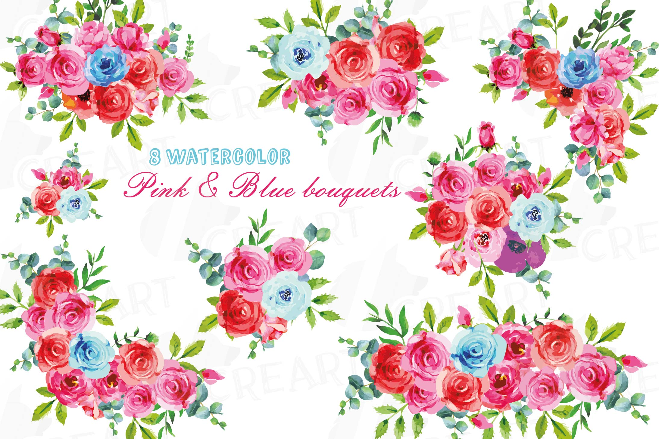 Boho pink and blue watercolor wedding bouquets, floral png example image 1