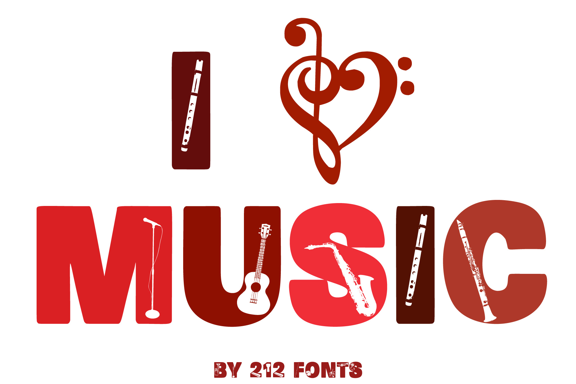 212 Music Caps Display Font Instruments Notes Alphabet OTF example image 2