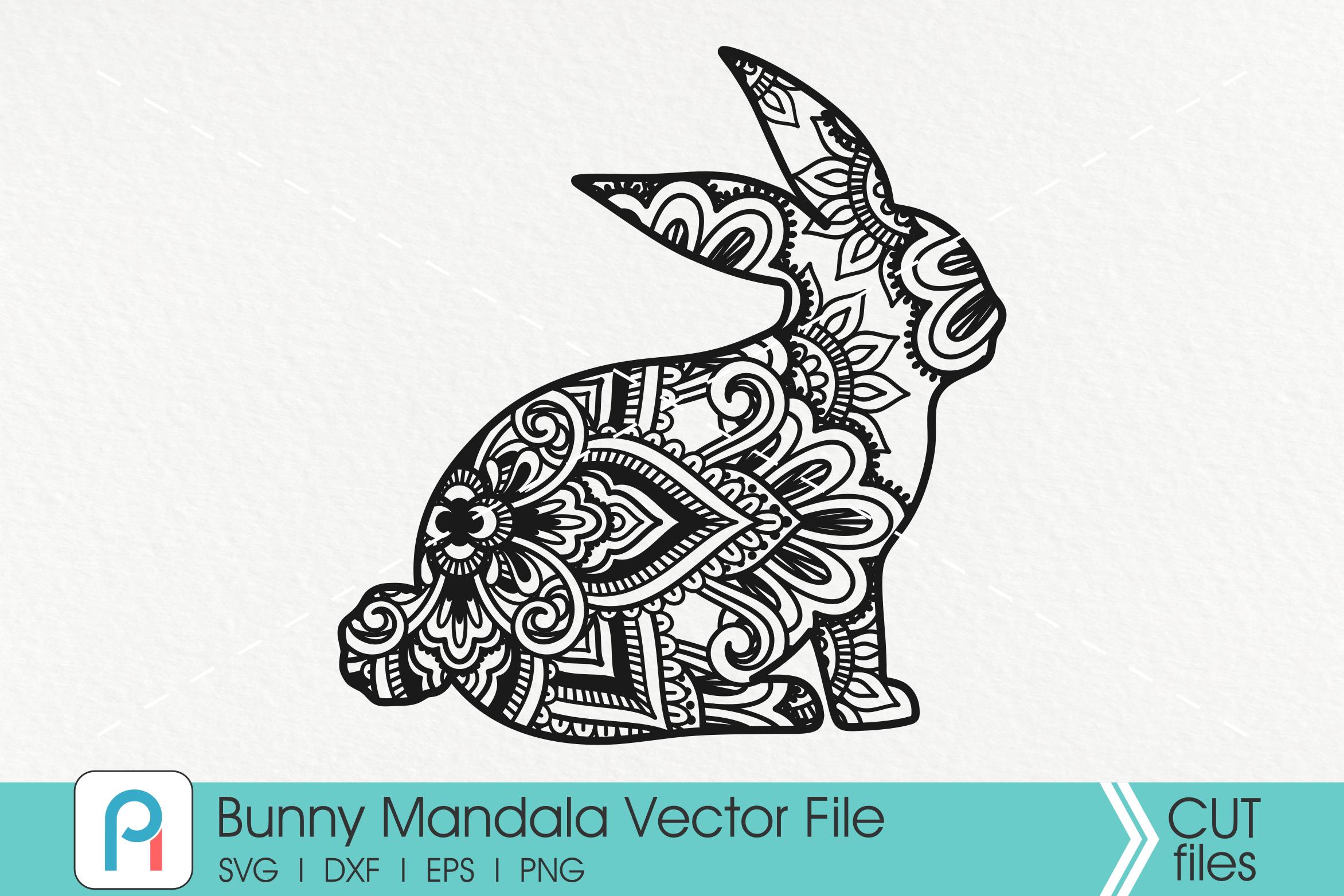 Bunny Svg, Bunny Mandala Svg, Easter Bunny Svg, Easter Svg example image 1