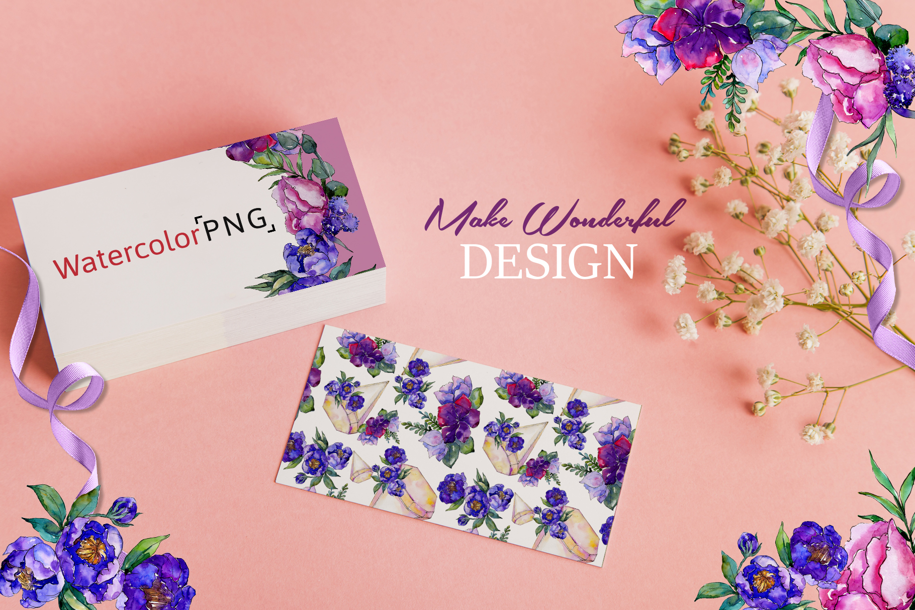 Bouquets of purple flowers Watercolor PNG example image 5