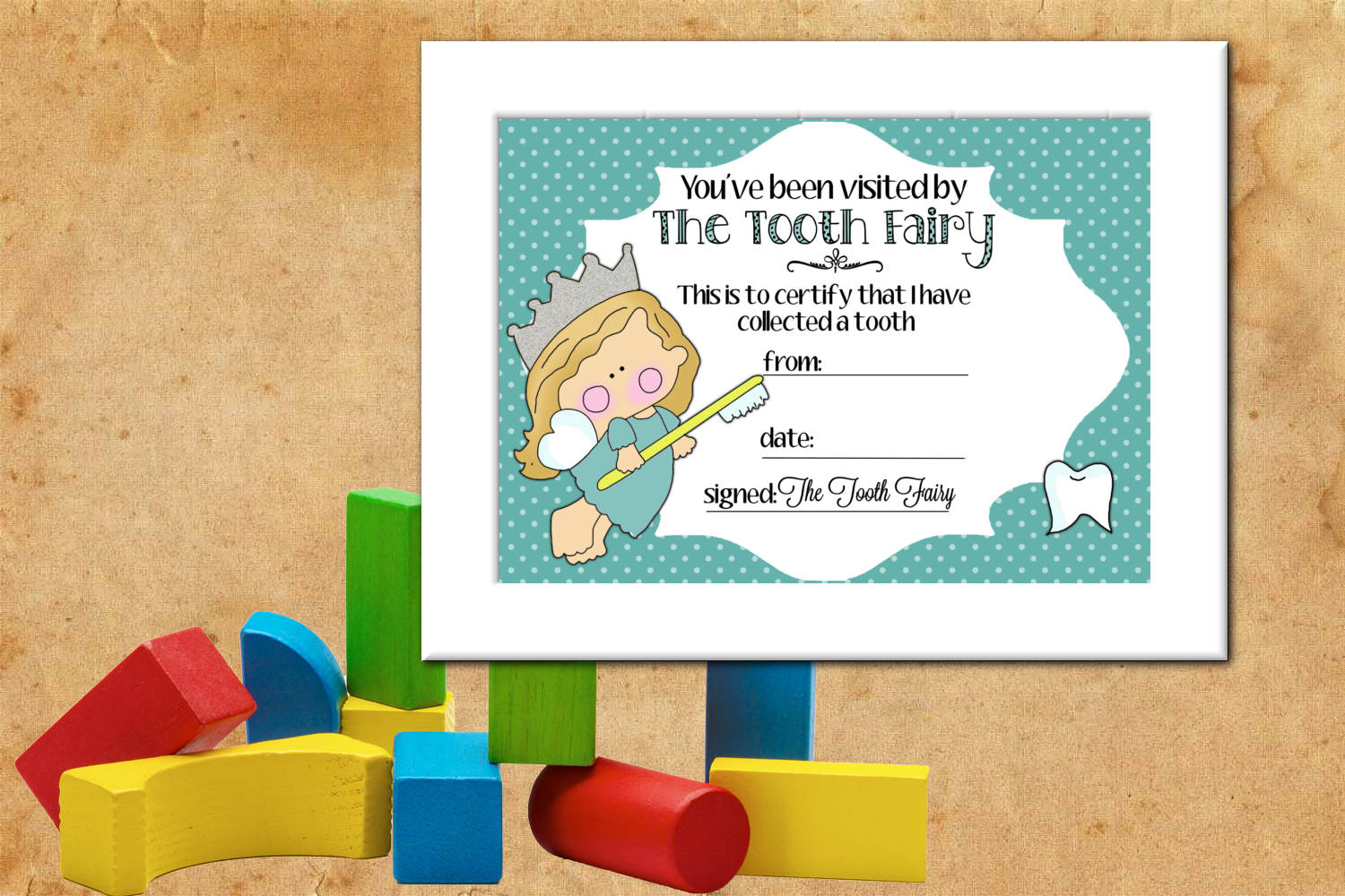 Tooth Fairy Certificate - Blue, 5 x 7 inches example image 2