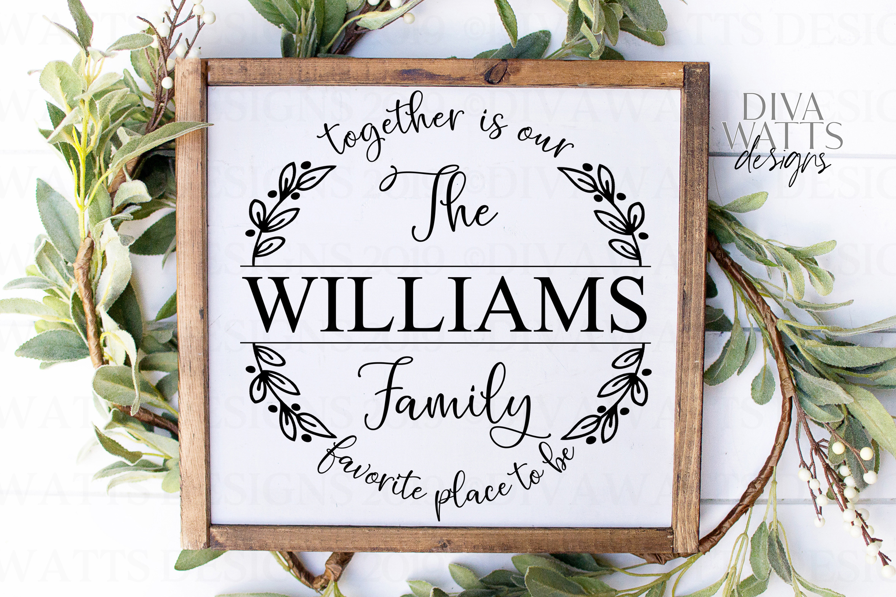 Together Is Our Favorite Place To Be Family Name Sign SVG example image 4