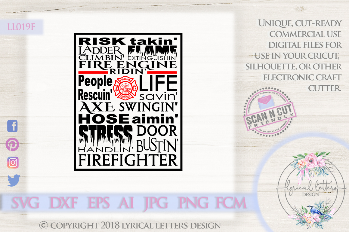 Fireman Firefighter Subway Art SVG DXF Cut File LL019F example image 1