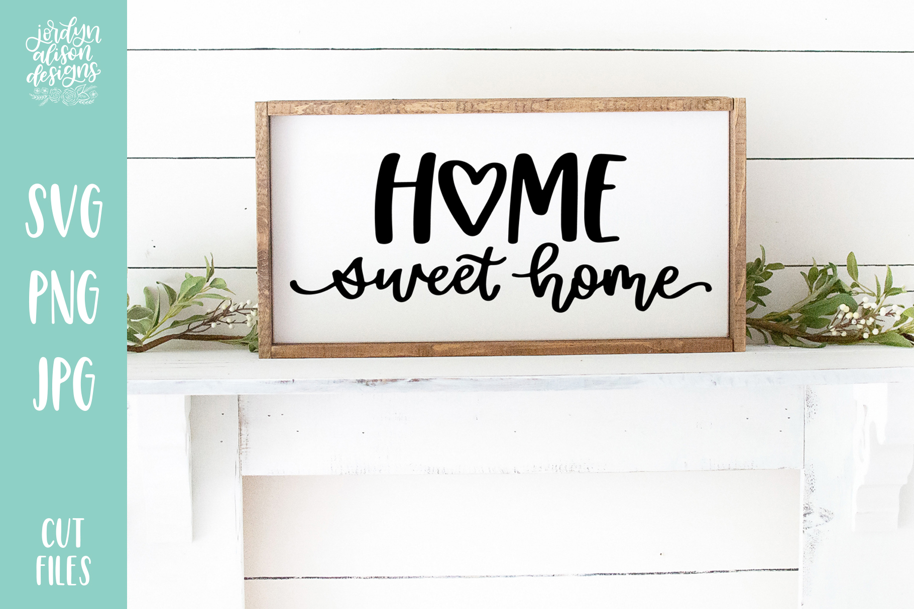 Home Sweet Home Heart, Hand Lettered SVG Cut File example image 1