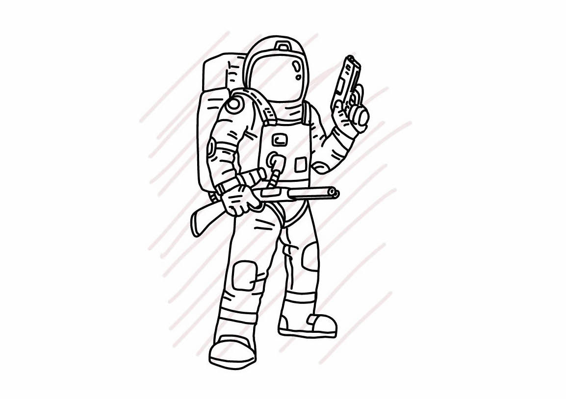 Astronaut holding pistol and shortgun -  SVG/JPG/PNG Hand Drawing example image 1