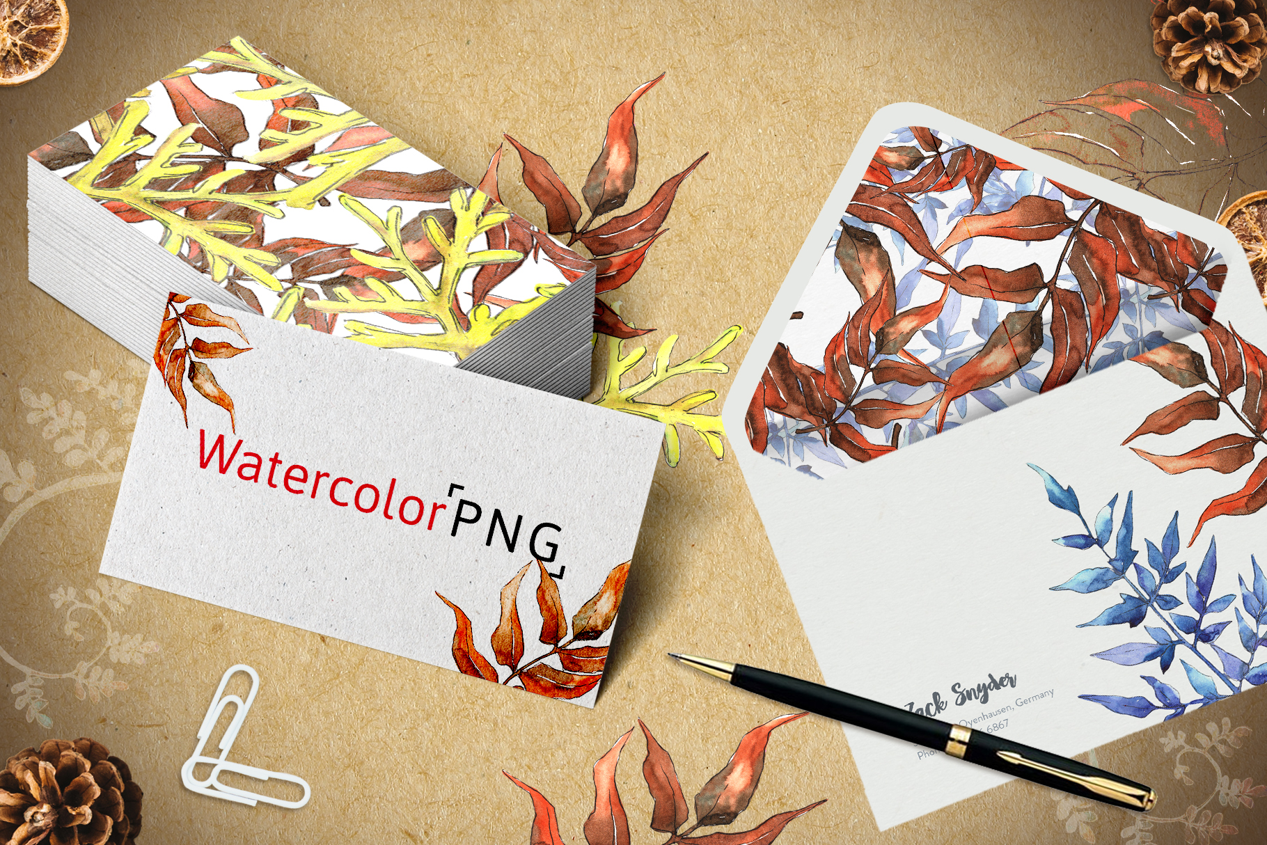 Watercolor autumn leaves png example image 7