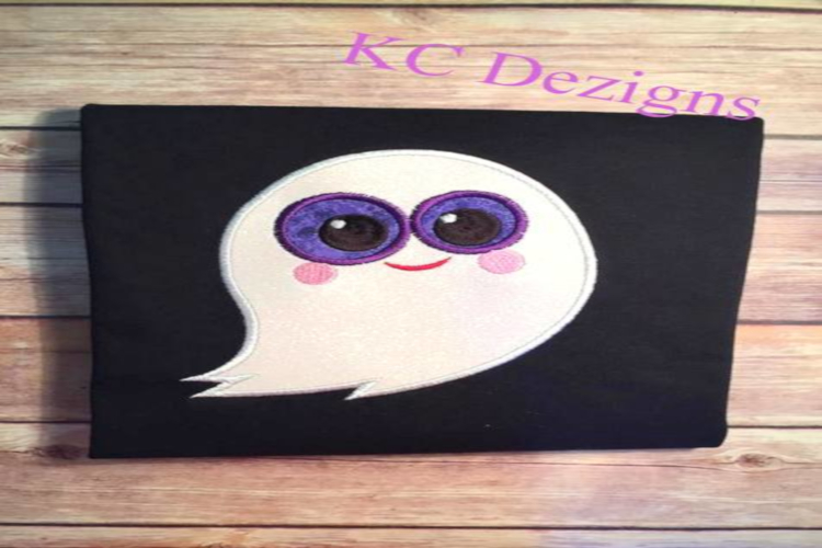 Purple Eyed Ghost Machine Applique Embroidery Design example image 1