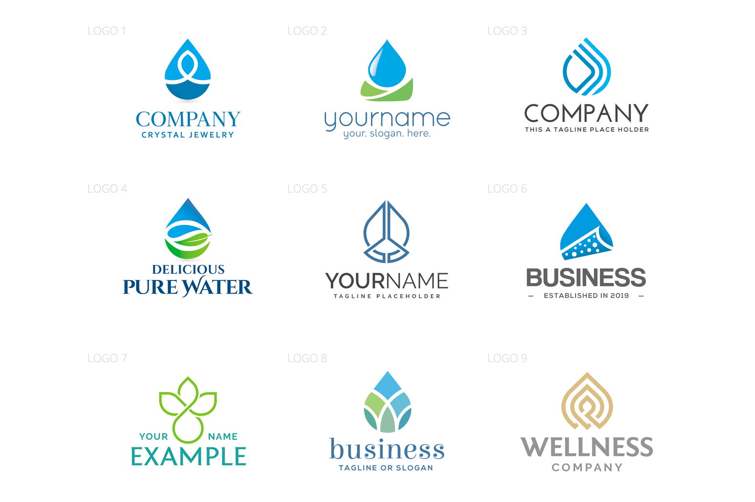 Water Drop & Aquatic Logo Design Set example image 2