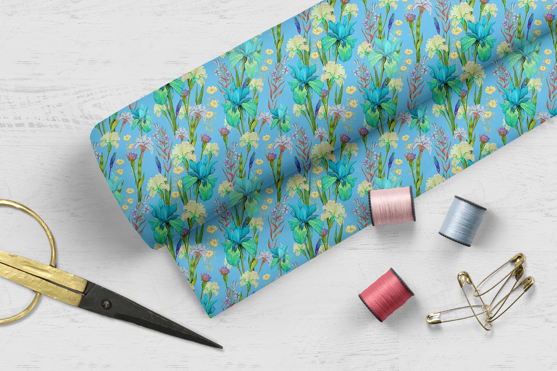 Iris digital paper. seamless pattern.Floral digital paper. example image 5