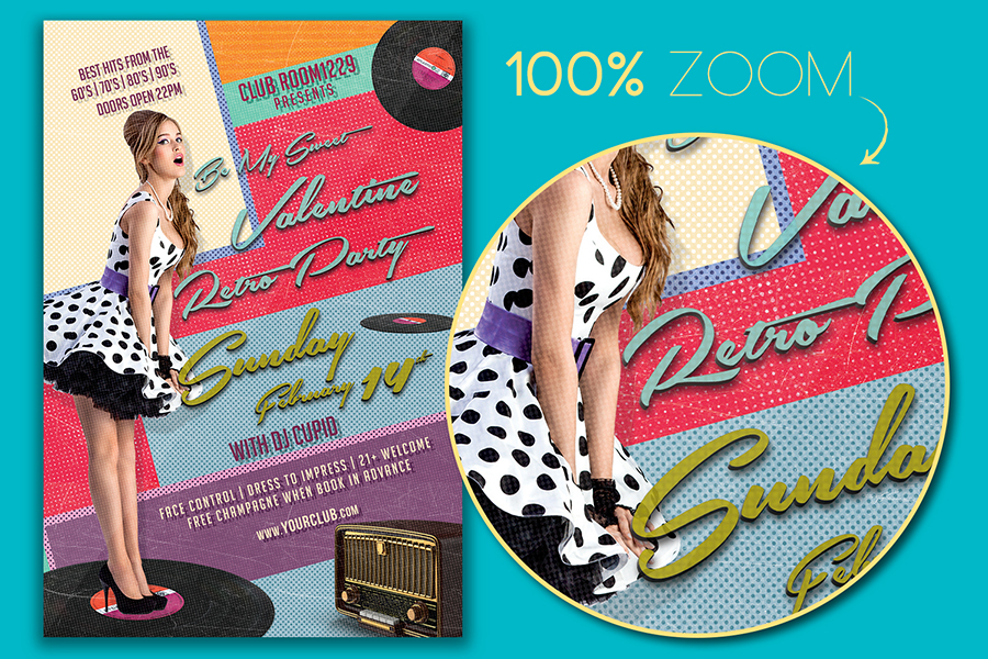 Valentine Day Retro Party Flyer Template example image 2