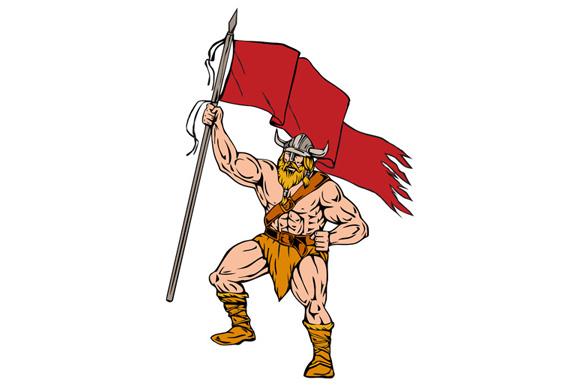 Viking Warrior Brandishing Red Flag Retro example image 1
