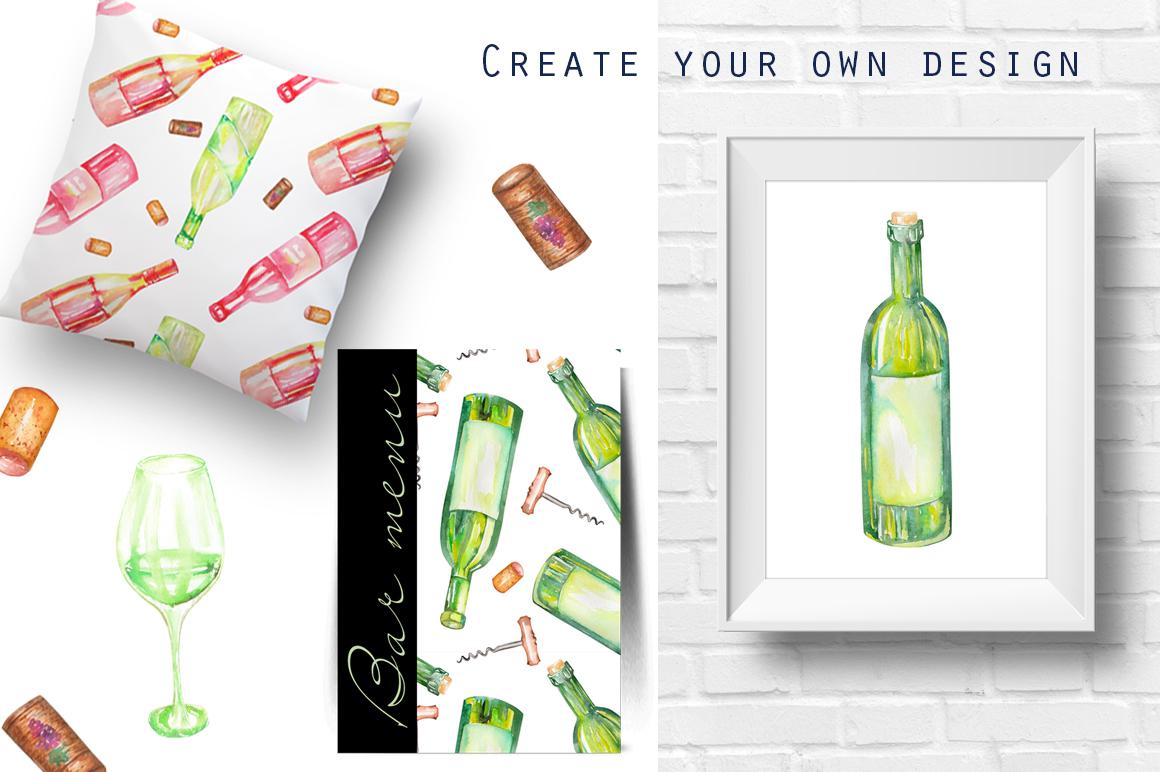 Wine. Watercolor clip art. example image 4
