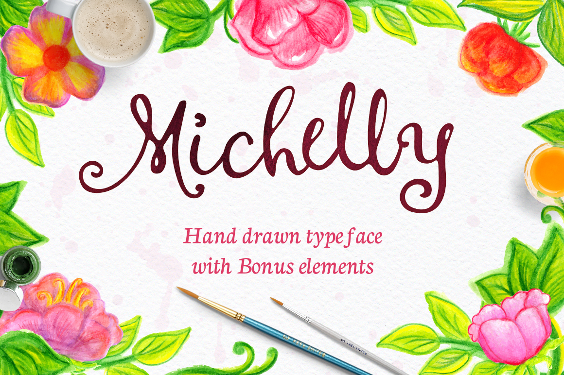Michelly typeface with elements! example image 1