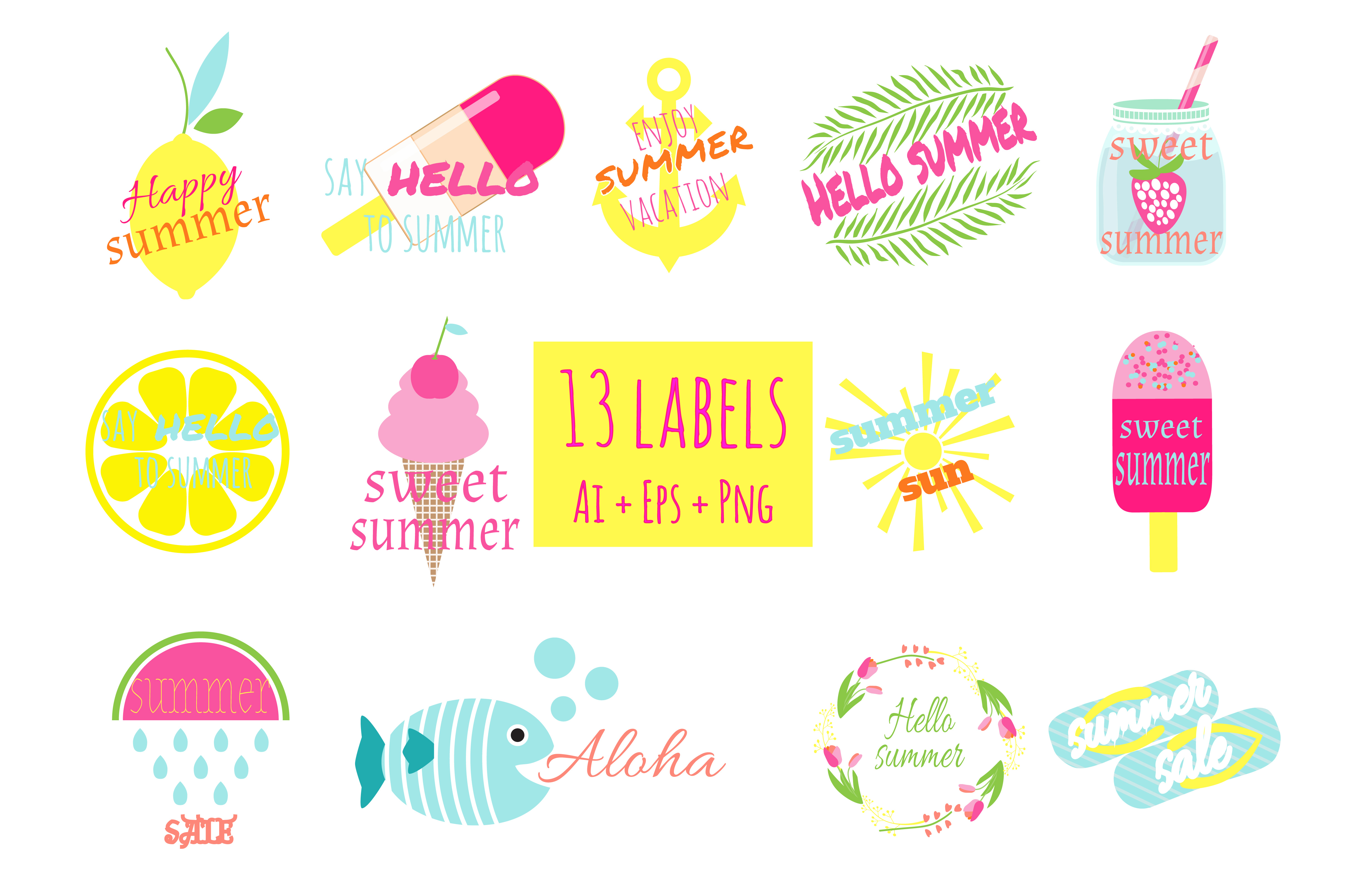 Summer Labels Vector Ai+Eps+Png example image 2