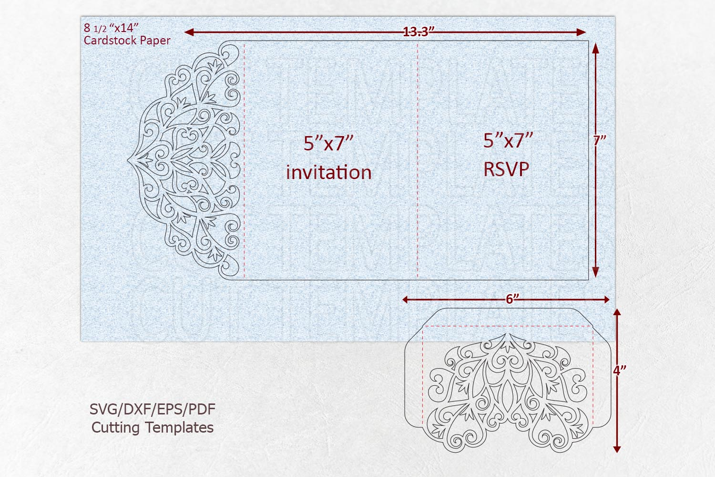 Trifold wedding invitation svg dxf pdf laser cut cricut file example image 7