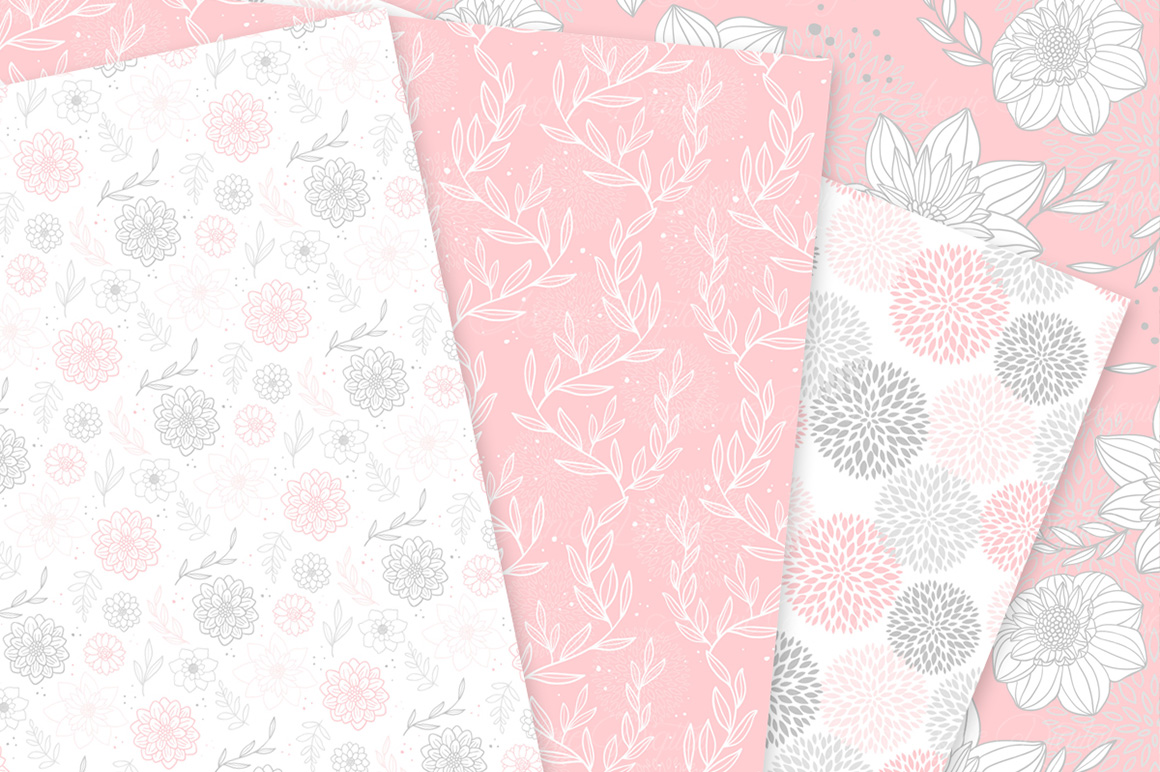 Pink and gray floral vector patterns light pink flower seamless pink and gray floral vector patterns light pink flower seamless digital papers example image 4 mightylinksfo