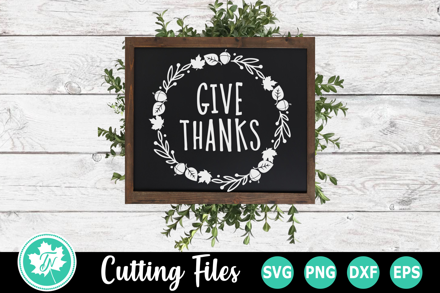 Give Thanks Wreath - A Fall SVG Cut File example image 2
