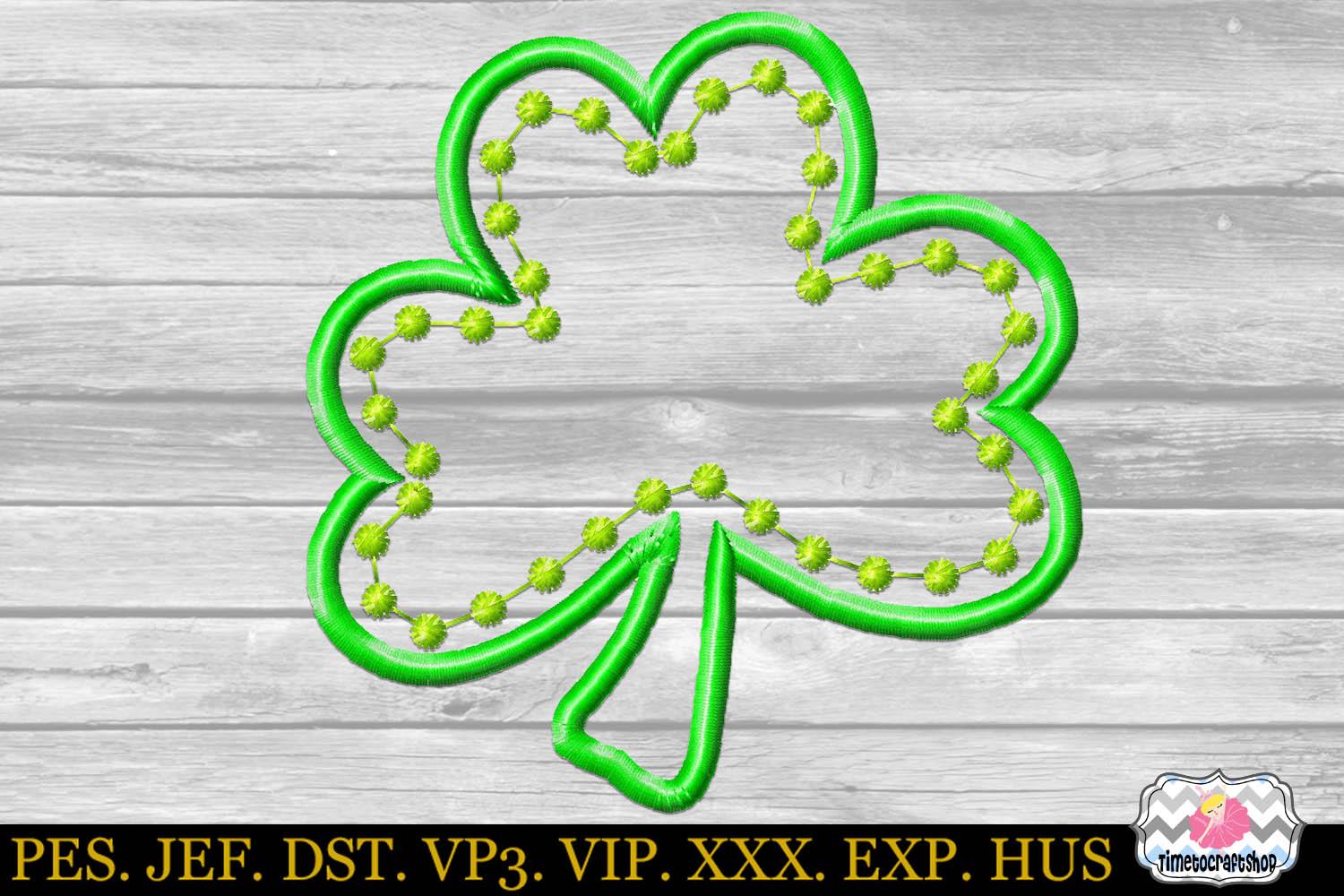 St Patricks Day Shamrock Clover Embroidery Applique Design example image 2