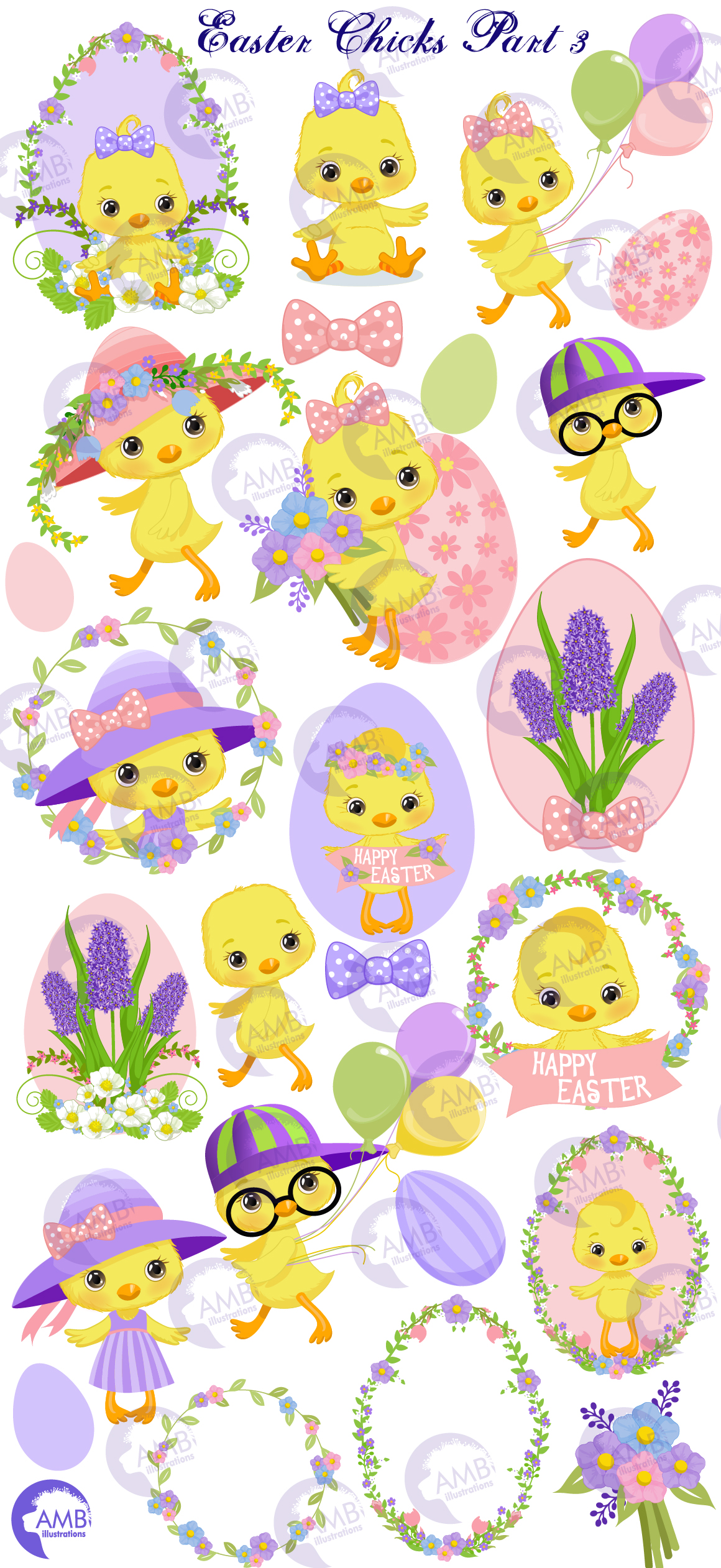 Easter Chicks clipart, part 3 AMB- 2728 example image 6