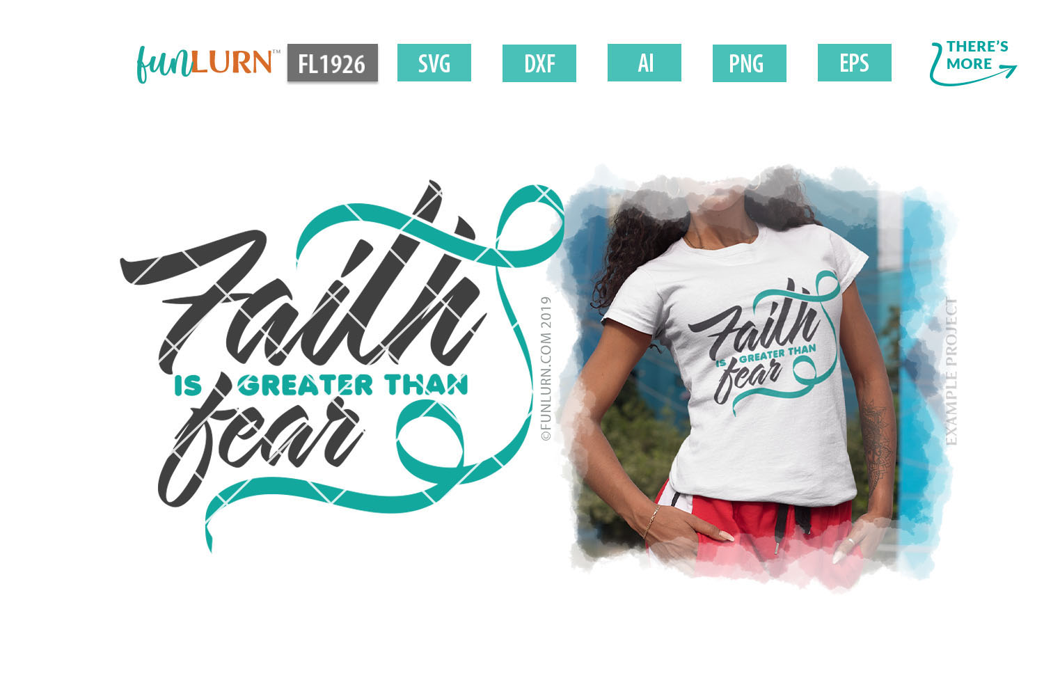 Faith is Greater Than Fear Teal Ribbon SVG Cut File example image 2