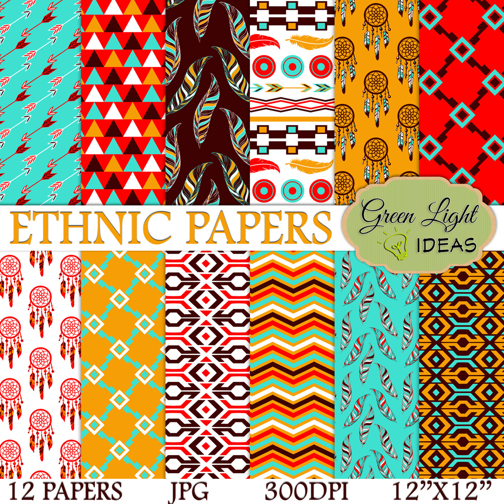 Ethnic Digital Papers example image 1