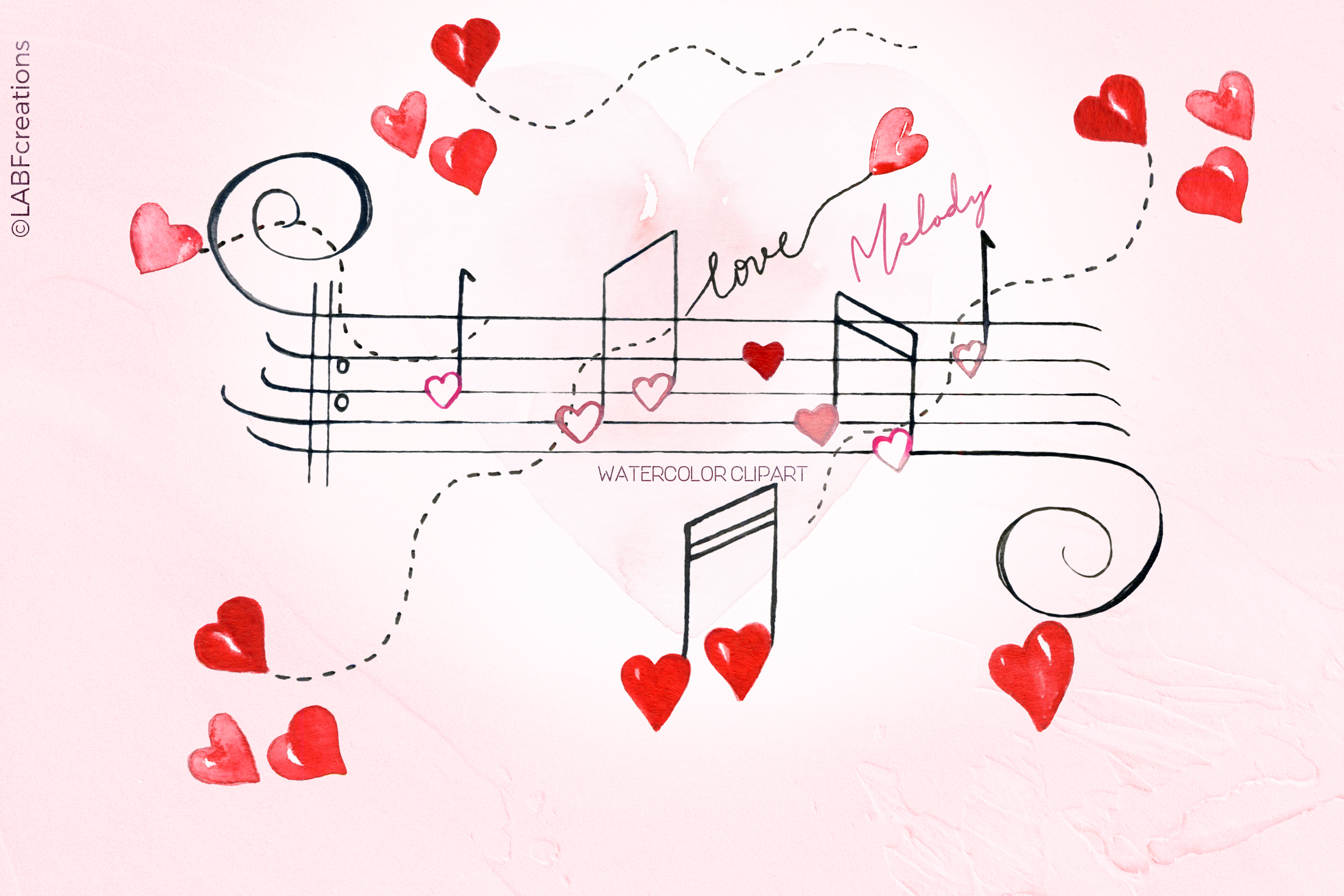 Love melody. Watercolor clipart example image 1