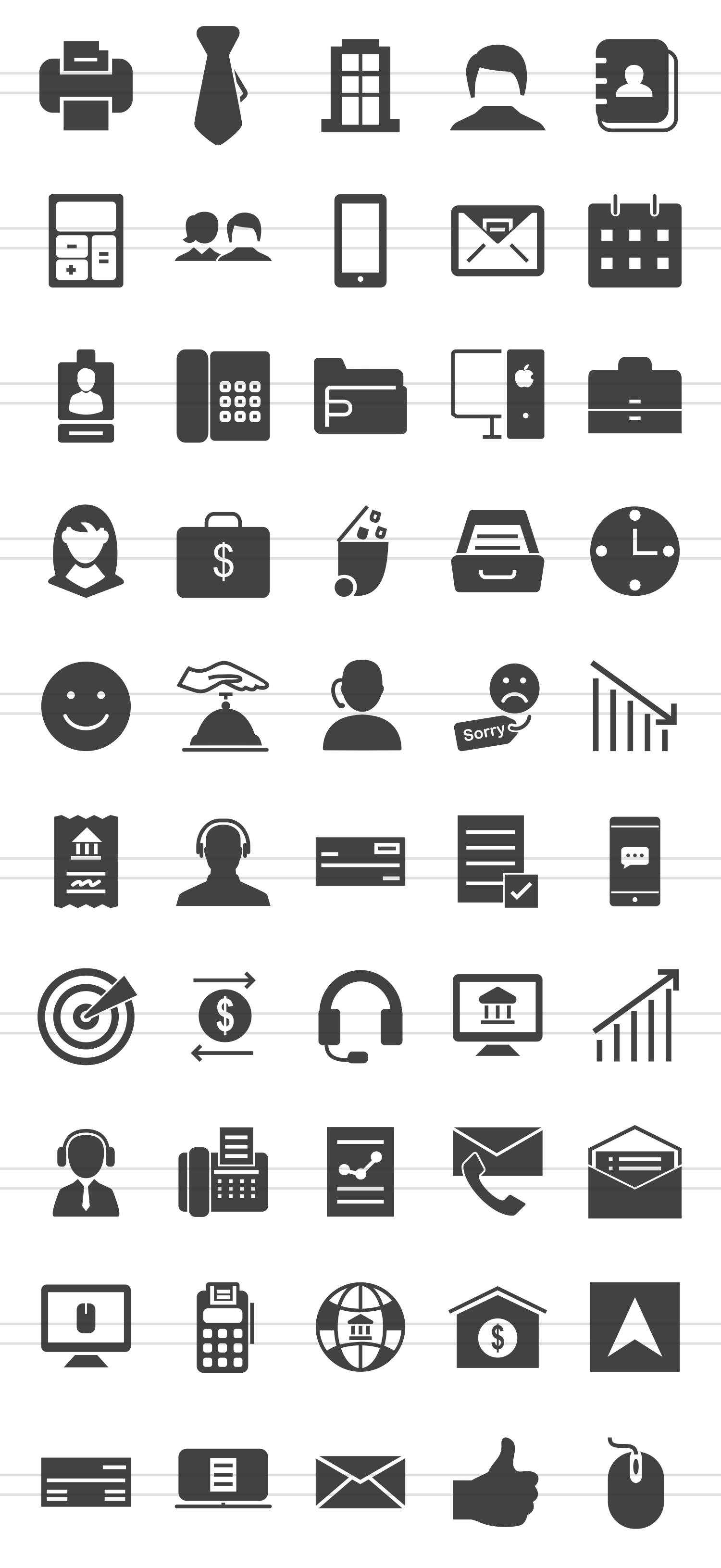 50 Business Administration Glyph Icons example image 2