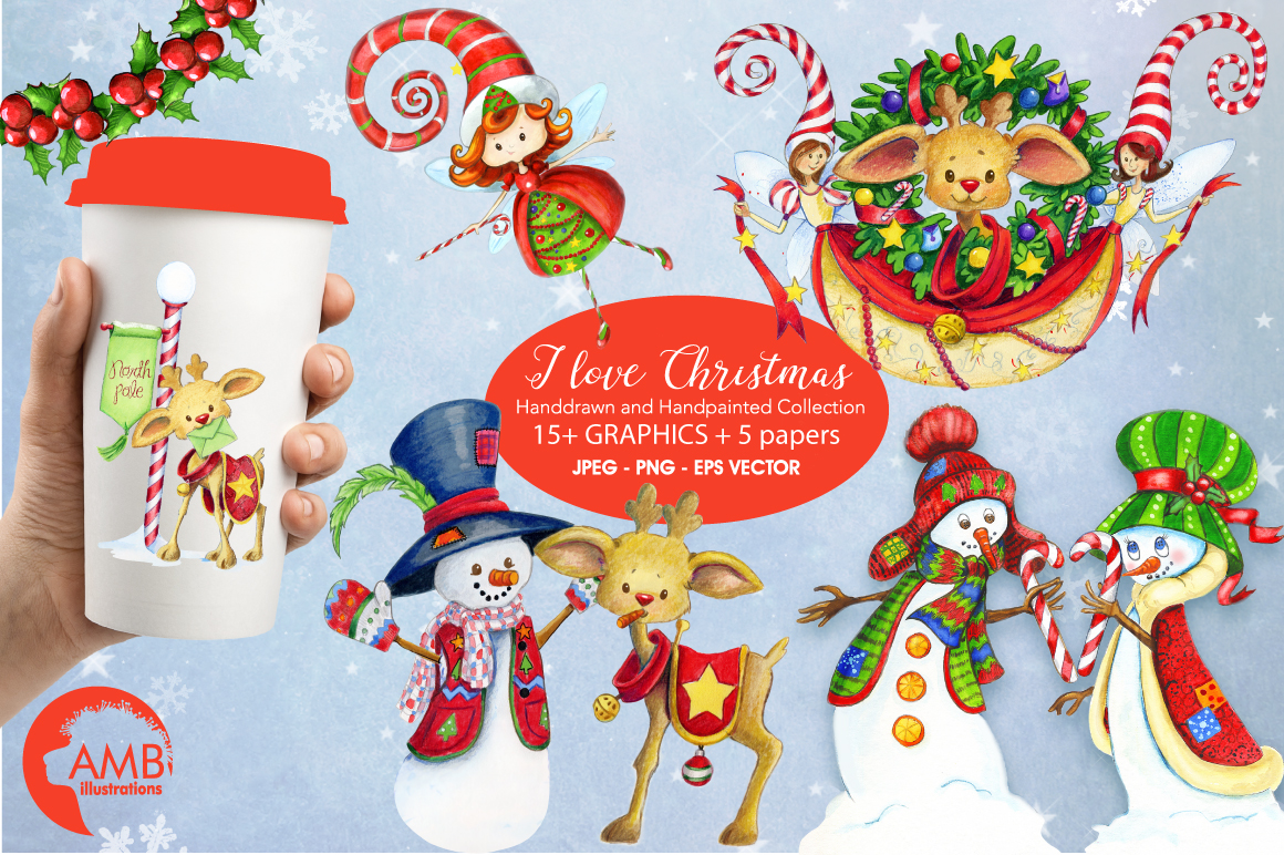 I love Christmas Bundle watercolor cliparts, graphics illustration AMB-1673 example image 1