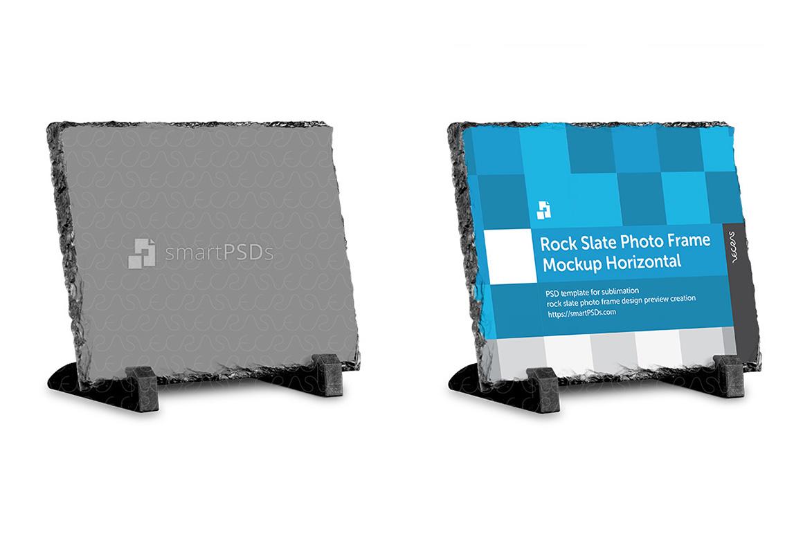 Rock Slate Photo Frame Design Mockup- Horizontal 3 Views example image 2
