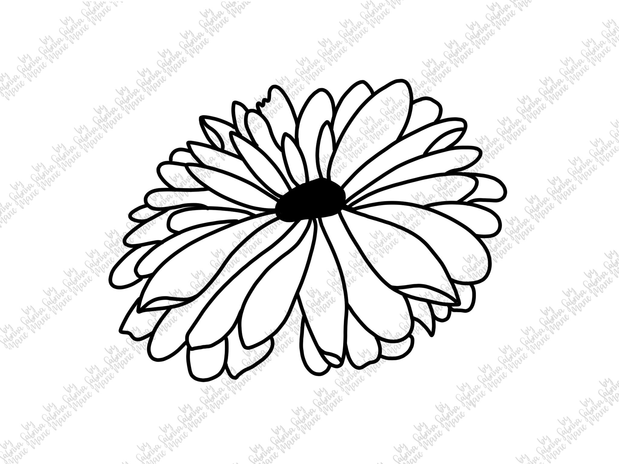 Daisy|Handdrawn Flower Cut File|Daisy Design|SVG|PNG