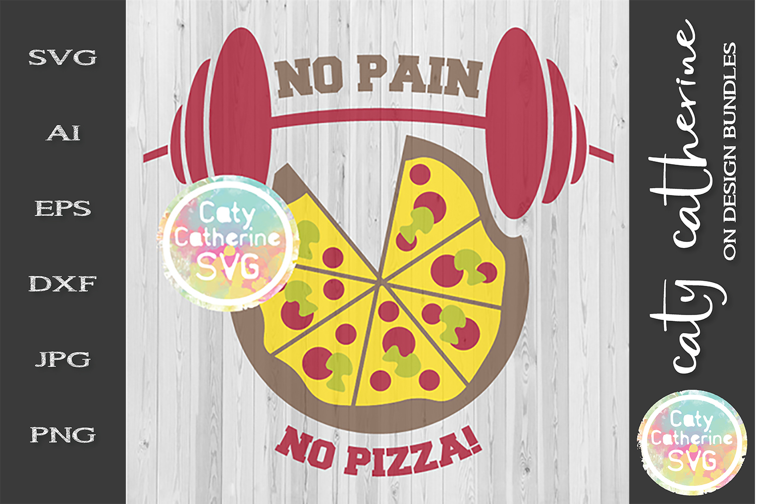 No Pain No Pizza! SVG Cut File example image 1