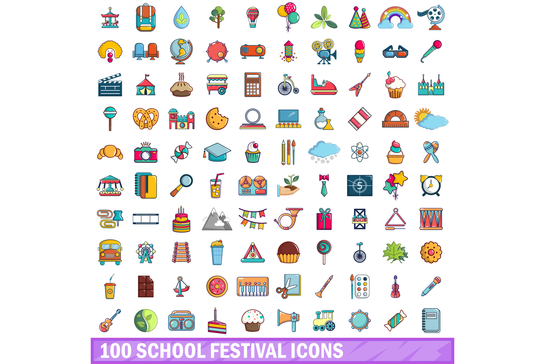 100 school festival icons set, cartoon style example image 1