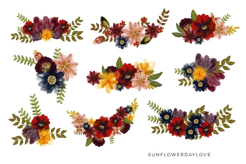 Marsala Burgundy Navy Floral Watercolor Set Clip art example image 3