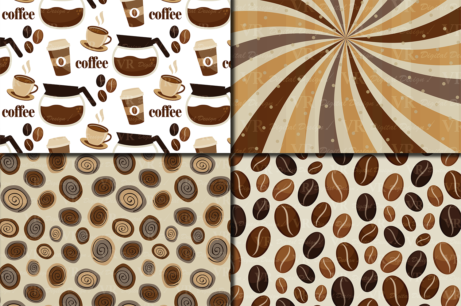 Coffee Digital paper pack / Coffee beans pattern / Coffee backgrounds / Brown Scrapbooking paper example image 3