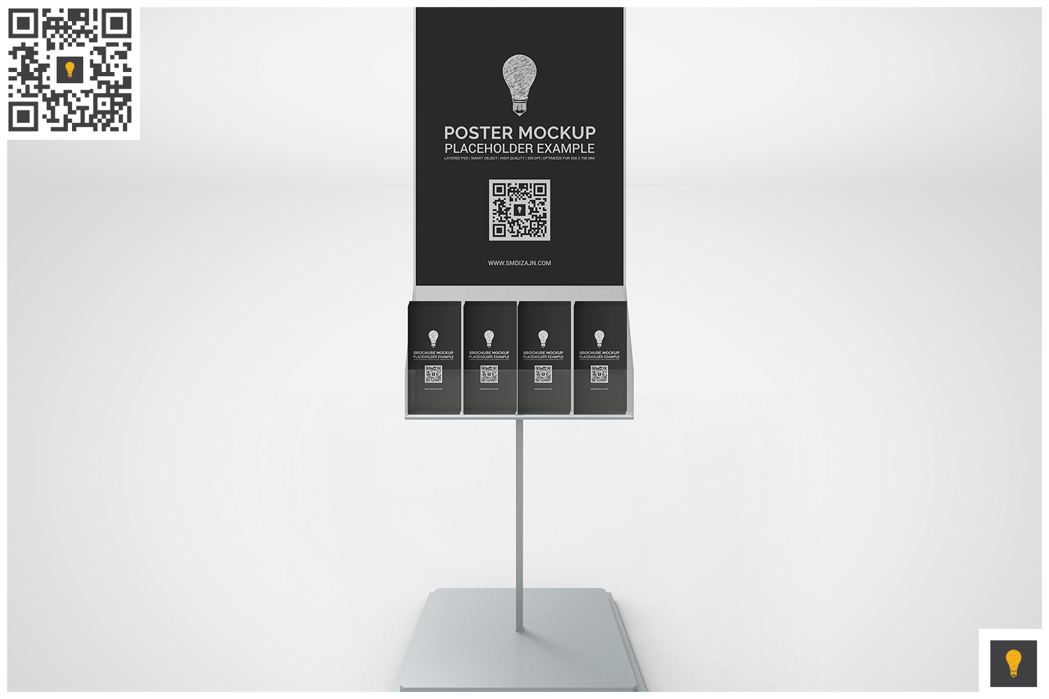 Poster Stand with Brochure Rack Mockup example image 5