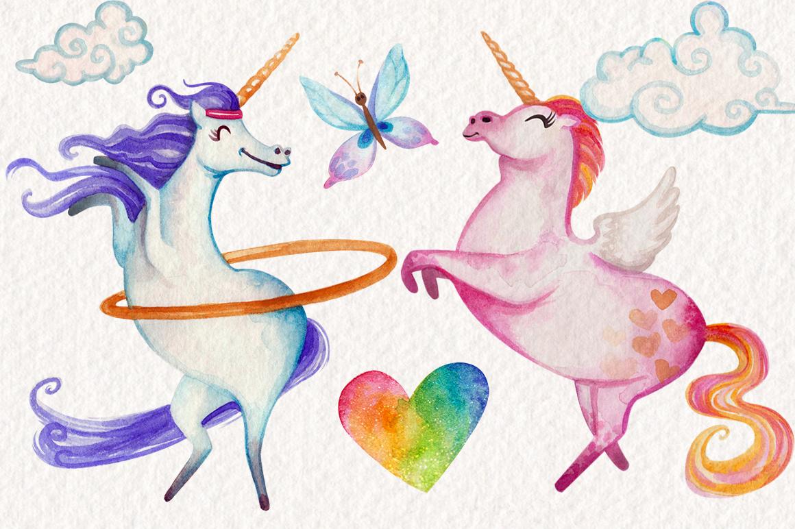 Watercolor Unicorns Graphics example image 2