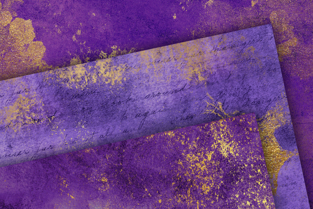 Grunge Purple and Gold Textures (125116) | Textures