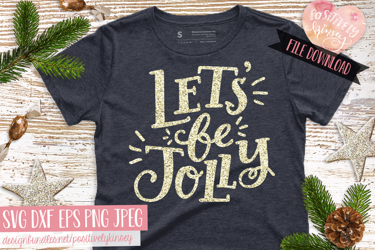 Christmas Quote SVG DXF PNG EPS Let's Be Jolly SVG Design example image 1