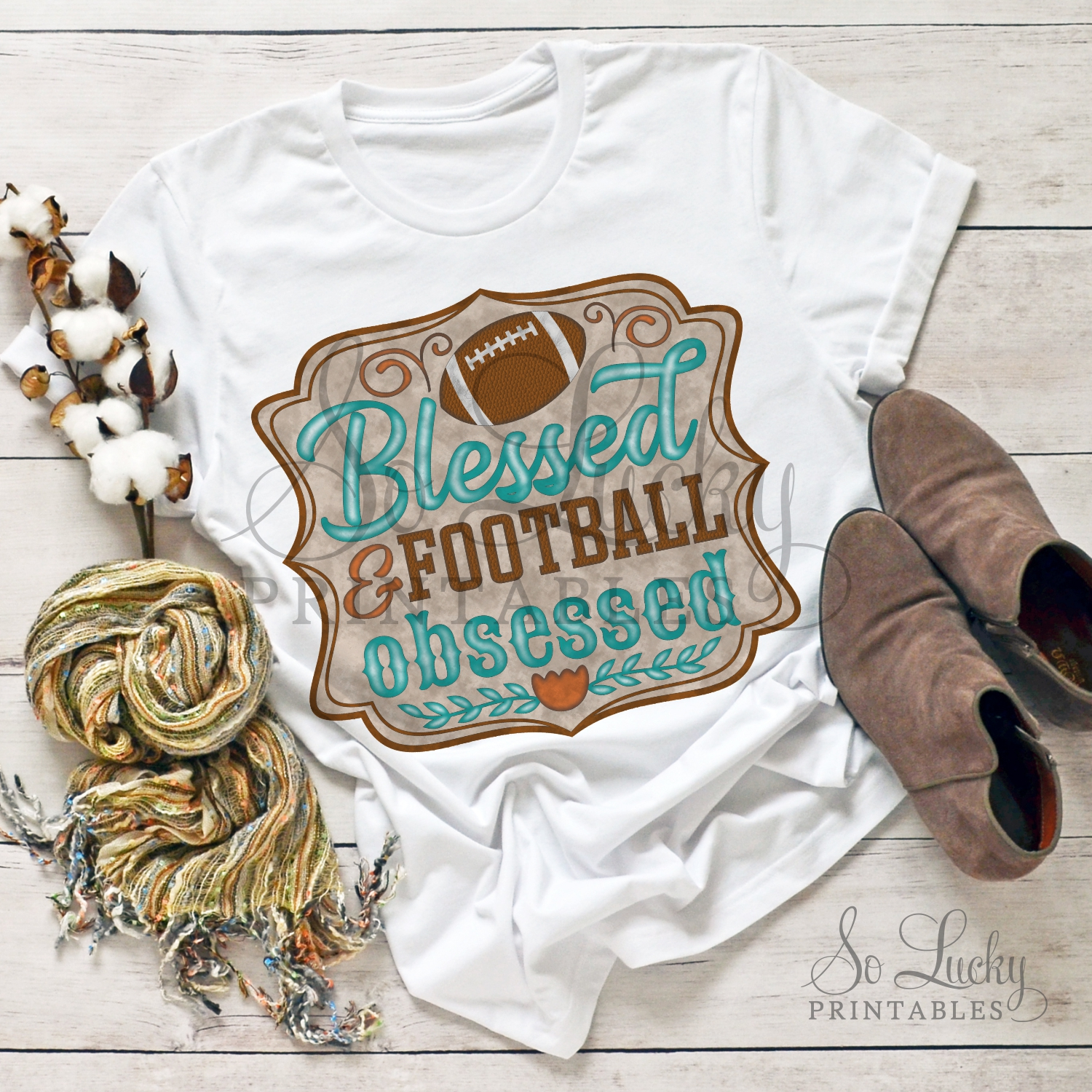 Blessed and football obsessed printable sublimation design example image 2