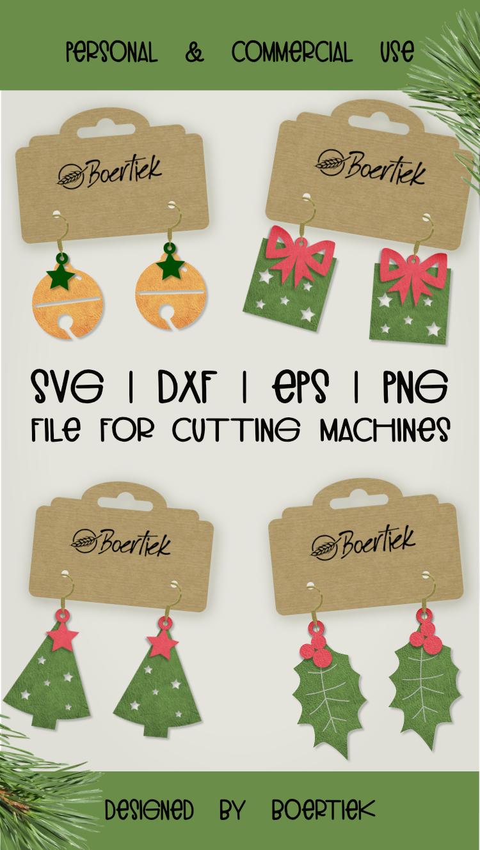 DIY Christmas earrings, SVG cutfile example image 4