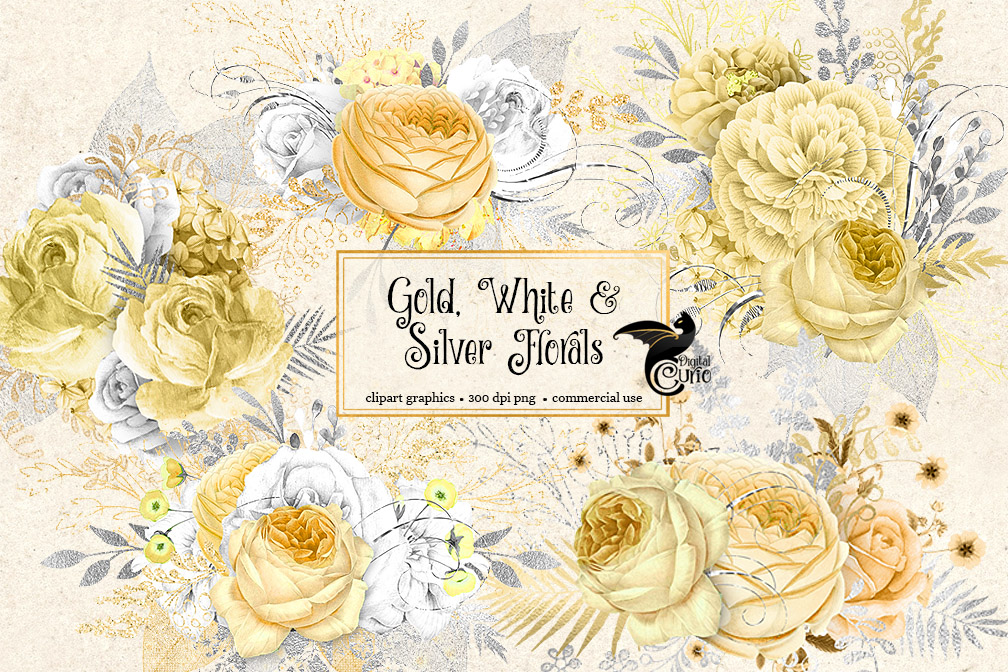 Gold White And Silver Floral Clipart